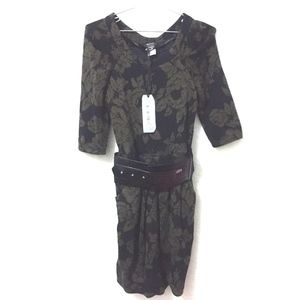 Miss Sixty Sweater Dress XS Belted Floral Italy